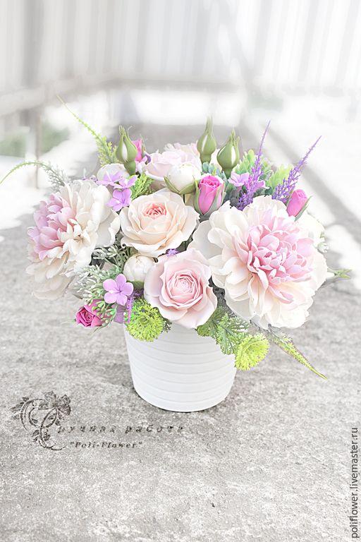 """Купить По мотивам. Интерьерная композиция """"Mazzo di fiori"""". Флорист. глина. - розовый, белый"""