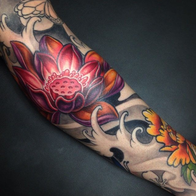 Amazing Japanese Tattoo Design With Lotus Tattoo Design In Hand Tattoo Ideas