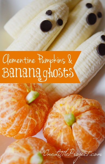 Clementine Pumpkins and Banana Ghosts How-To ~ This is such an adorable and healthy Halloween snack idea!