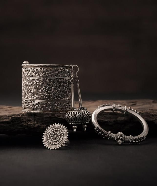 Buy Silver Finesse Jewels You Desire Intricately-etched tribal silver earrings, rings, necklaces and more Online at Jaypore.com