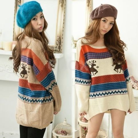 Women's+Knitted+Striped+Jumper+Christmas+Deer+Casual+Loose+Pullover+Tops+Sweater+DF7563  ++++100%+Brand+New.  ++++Material:+wool  ++++4+Colors+available:+Blue,+khaki,+Orange,+Beige  ++++Size:+one+size  ++++Style:+The+Korean+version  +++++Neckline:+round+collar  ++++Occasion:+Casual ...