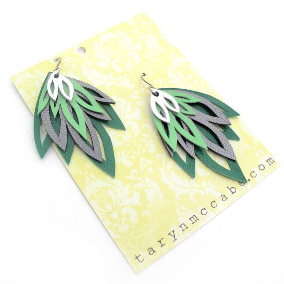 Green for Spring! Green Hand Cut Leather Layer Earrings by tomgirl on Etsy, $58.00