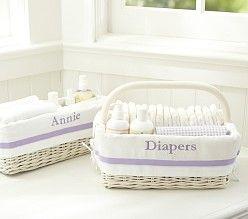 Nursery Storage Bins - personalized (pinks, purples, grey, khaki, black)