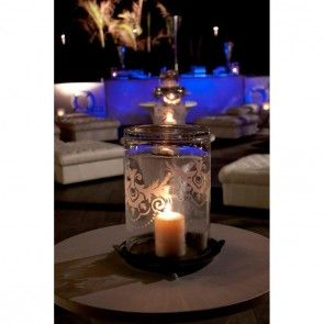 Etched Glass Hurricane Lamp Candle Holder