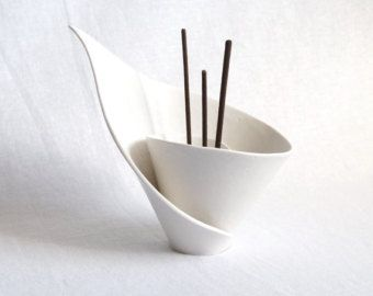 Spirale LILY Weihrauch Stockhalter, Reed Diffuser, Räucherstäbchen Brenner, Duft Stockhalter, Kerzenständer, weißem Porzellan moderne Zen Dekor