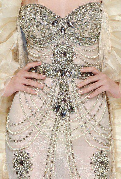 embroidered silver champagne wedding dress via Le Mademoiselle UK on IndianWeddingSite.com