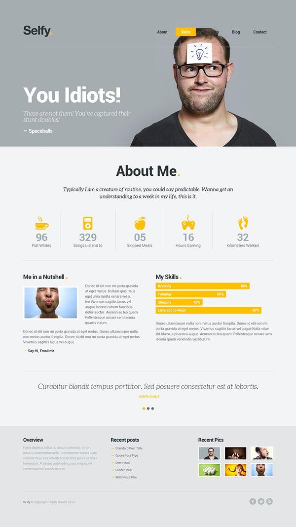 Selfy - Personal WordPress Theme on Behance