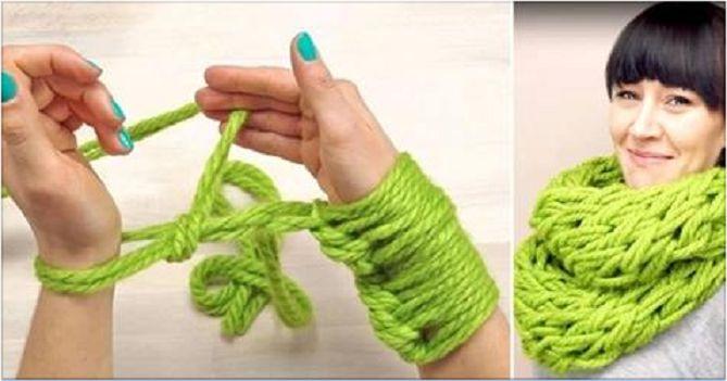 Hoe brei je een PRACHTIGE Infinity-sjaal met je handen in slechts 30 minuten? Bekijk snel hoe! - Zelfmaak ideetjes