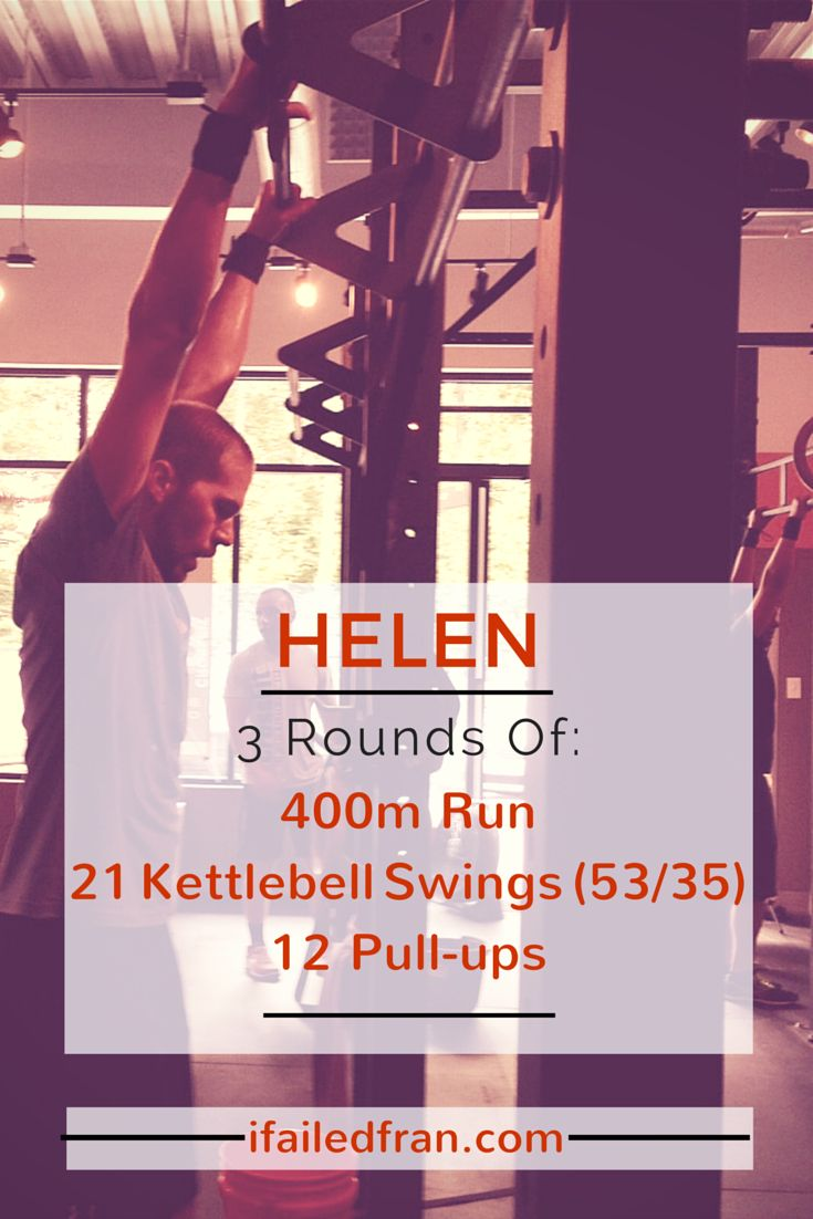 CrossFit Helen WOD --> Complete three rounds for time of: 400m run, 21 kettlebell swings, 12 pull-ups. One of the original benchmark Girls workout! - via ifailedfran.com