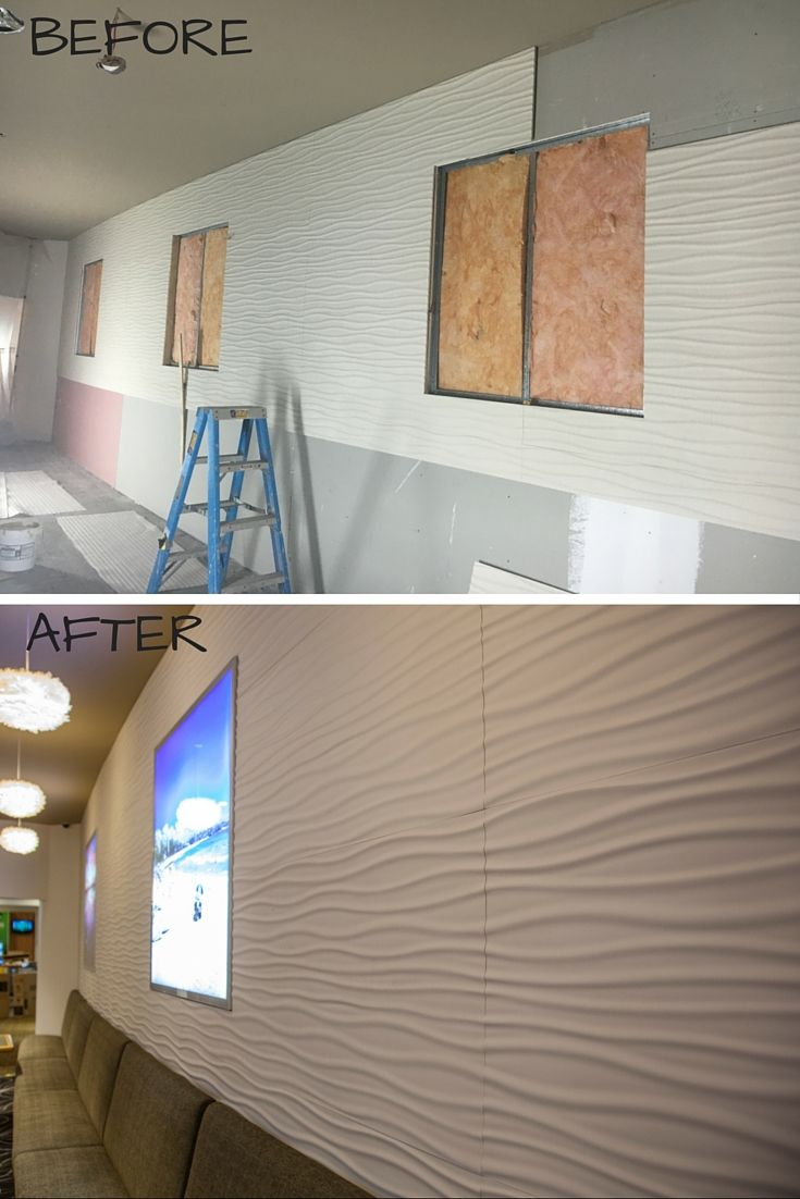 3d wall panels curve around this feature wall and are lightweight making them super easy to install. what a transformation!