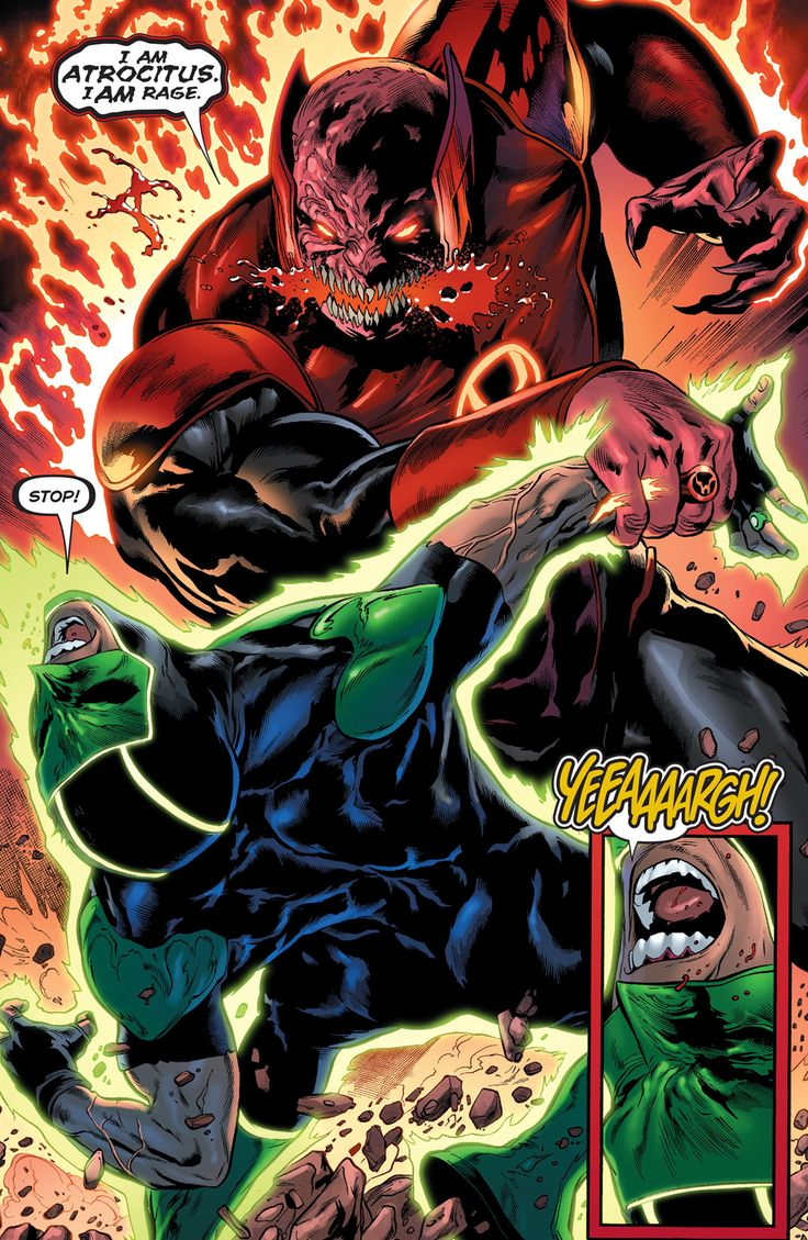 "Atrocitus vs Simon Baz in Green Lanterns #5 ""Rage Planet V"" (2016) - Robson Rocha & Eduardo Pansica, Inks: Jay Leisten & Julio Ferreira, Colors: Blond"