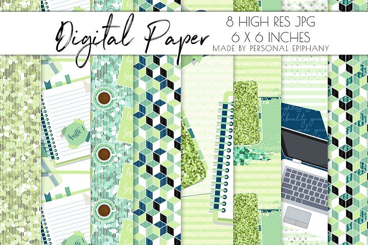 Planner girl digital paper, scrapbooking, repeat pattern