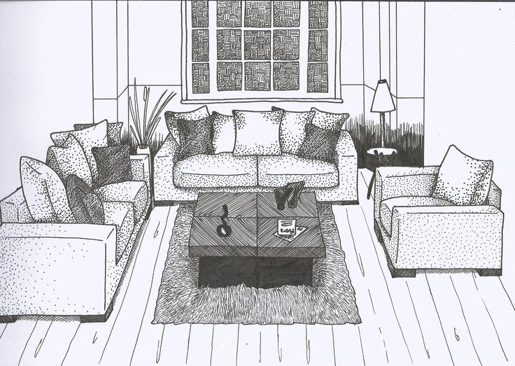 Ink stipling interiors in perspective drawing interior - One point perspective drawing living room ...