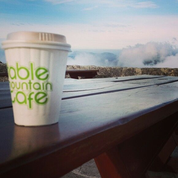 Breakfast and hot chocolate on table mountain