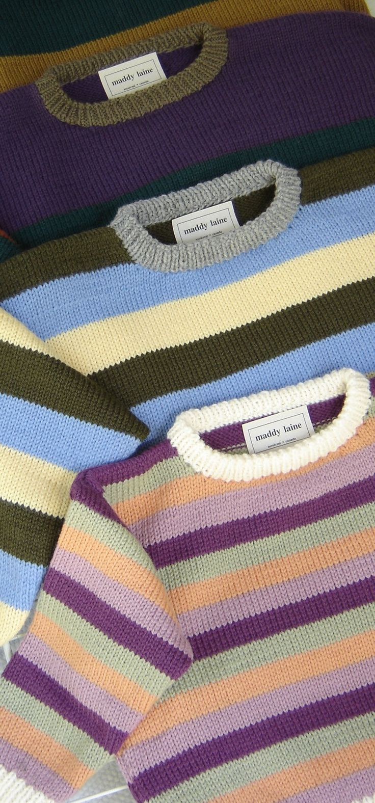 Sizes beginning at 6 years are in this family-sized knitting pattern for a striped drop-shoulder pullover.