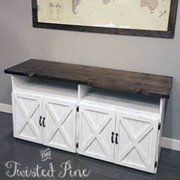 The farmhouse buffet (sideboard) can be used in your kitchen as extra counter space or storage, in your dining room to store dinnerware and odds & ends, or you can even use it in your living room and be your media center! A very versatile unit that can be put almost anywhere.  -Dimensions: 32″ High x 20″ Wide x 66″ Long - Can be custom size – call for details -Comes in a variety of stains  -Two-Tone Distressed version shown with Jacobean gloss top with distressed white base