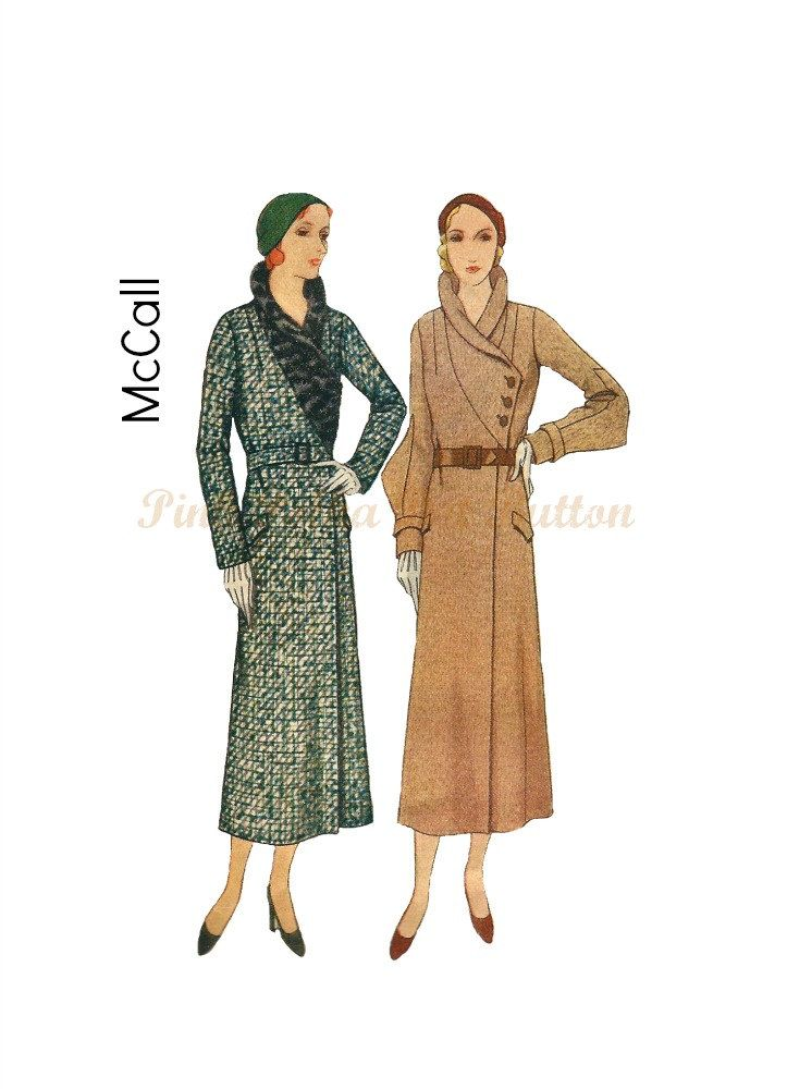 Vintage 1920s McCall 6656 Misses Long Side Buttoning Coat ...