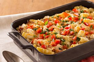 Monterey Chicken Pasta Bake  - cheesy with shredded Monterey Jack and hearty with chicken, bacon and rigatoni, this family-pleasing pasta bake is ready for the oven in just 20 minutes.