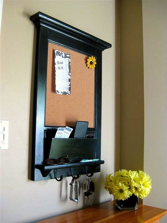 Furniture note: This mail organizer bulletin board with key hook with shelf is made once ordered, there is no current stock. See below for delivery times. This heirloom quality vintage inspired Bulletin Board or Chalk Board, Keyhook and Mail Slot organizer with shelf is ideal for an office,
