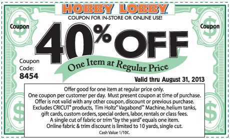 Pinned August 26th: 40% off a single item at Hobby #Lobby, or online via promo code 1094 #coupon via The Coupons App