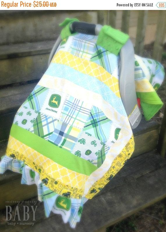 ON SALE NOW! This car seat cover is soft and cozy, perfect for even the littlest baby! || John Deere baby boy nursery decor theme farm farmer tractor country western rustic blue green yellow minky car seat canopy cover velcro handle || $25, etsy.com/shop/MissyPrissyShop