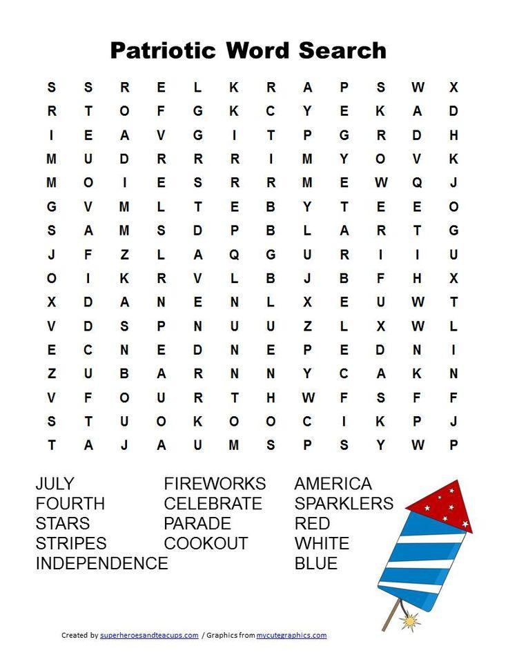 Free Printable Patriotic Word Search