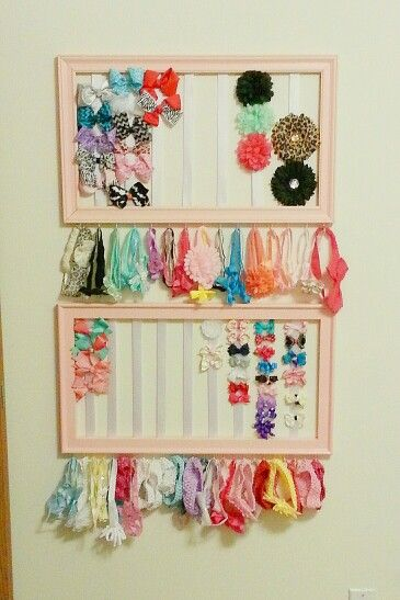 Hair bow racks made from picture frames & ribbon I need this!! Love little bows!