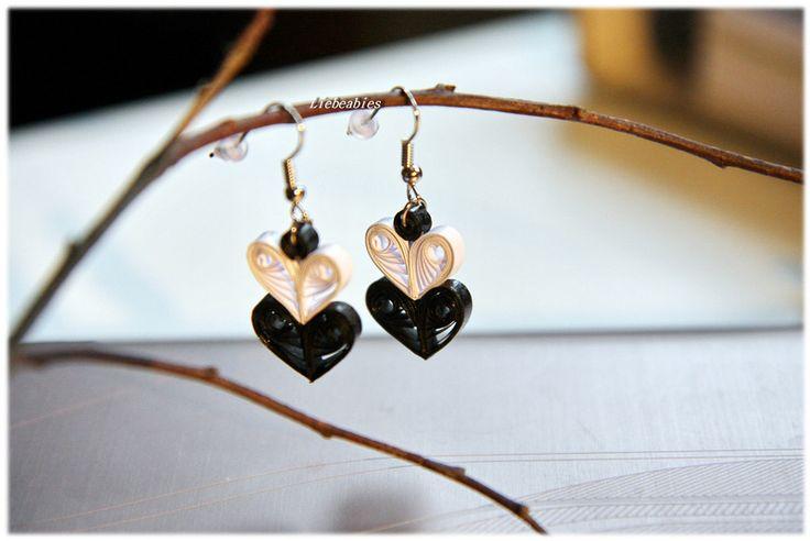 Quilling Ohrringe Herzen Valentinstag Liebe von Liebeabies auf DaWanda.com