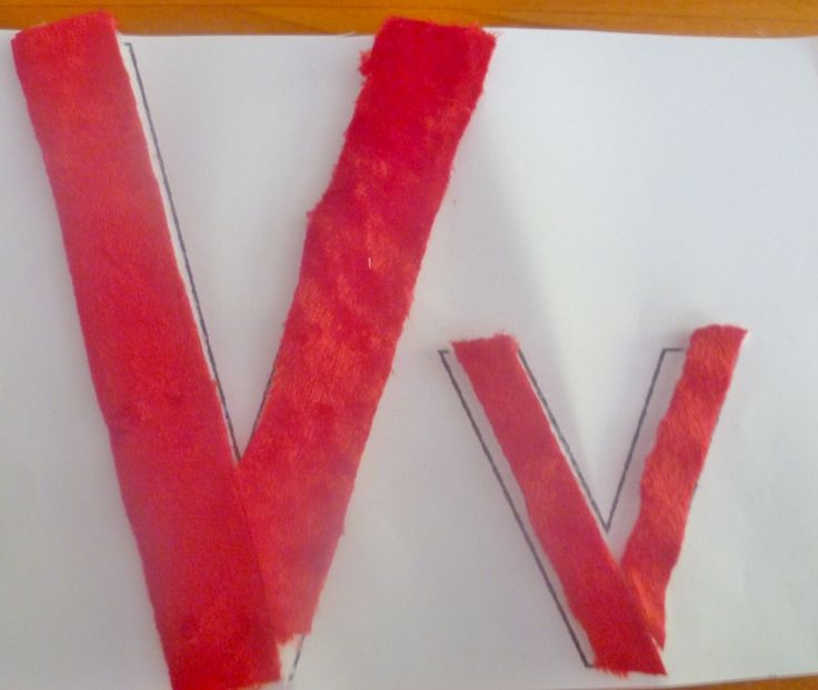 Make the letter V from velvet and secure it to your template using Velcro. A multi-sensory approach to learning letters with your preschooler.