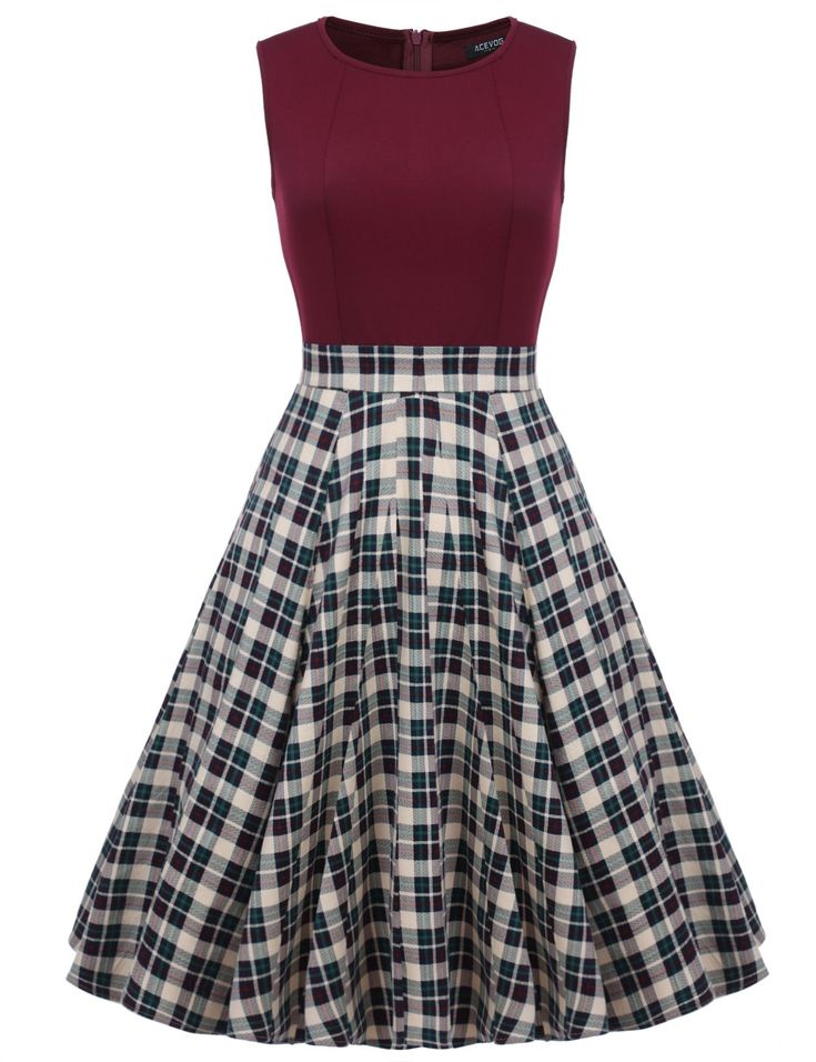 Women 1950s Vintage Style Retro Sleeveless Plaid Patchwork A-line Cocktail Midi Party Casual Dresses #dressescasualcocktail