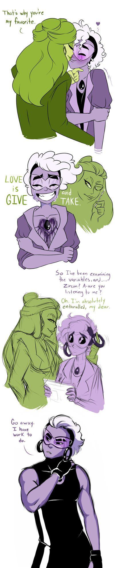 Mo doodles, mo problems~ Some sketchy stuff before bed, exploring more with Zircon and Onyx 1.) Zircon and young Onyx. Look at that little idiot. So happy and in love, blindly in love. Zircon used ...