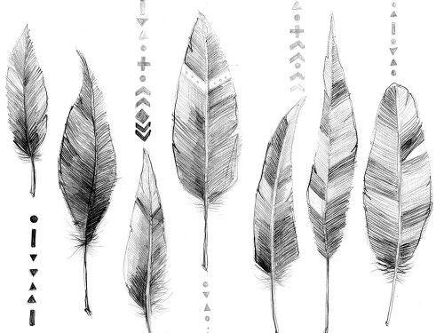 """WZÓR DNIA: czarno-biała grafika z katalogu """"Etno"""" - Piórka ołówkowe  http://cottonbee.pl/tkaniny/etno/6466-piorka-olowkowe.html"""