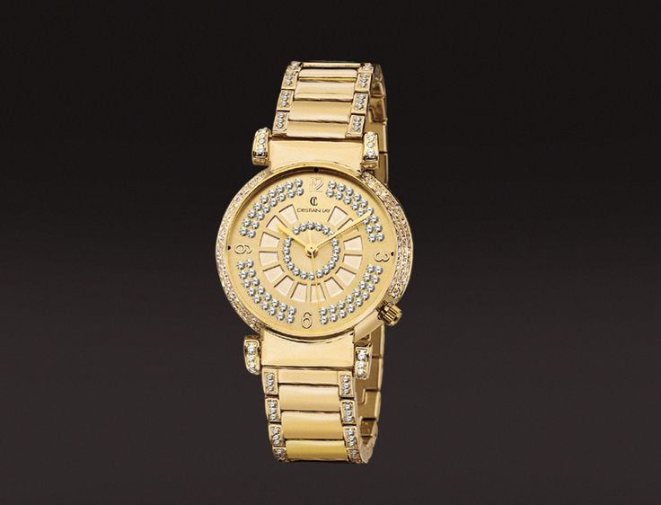 Reloj con caja en aleación metálica chapado en oro especial I.P.