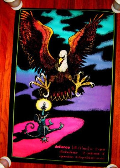 VINTAGE BLACK LIGHT POSTER DEFIANCE 1970s EAGLE RAT FINGER ...