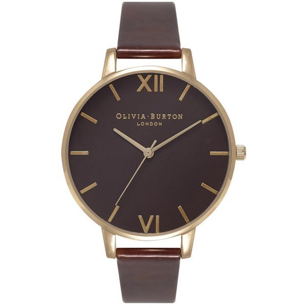 Olivia Burton Big Brown Dial Watch - Tortoise Patent & Gold (€110) ❤ liked on Polyvore featuring jewelry, watches, yellow gold jewelry, gold wrist watch, brown watches, tortoise watches and gold jewellery
