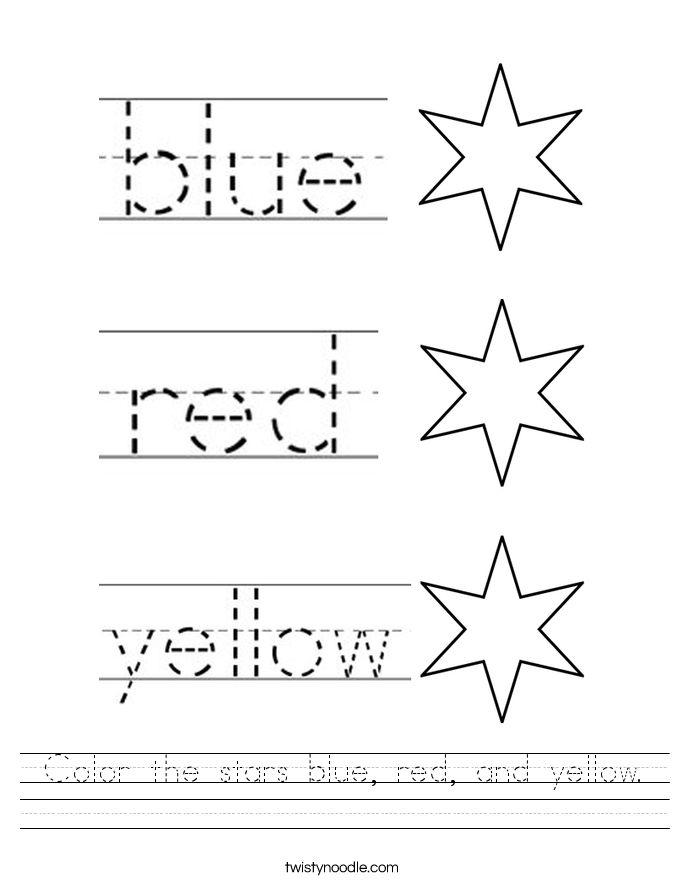 Color the stars blue, red, and yellow. Worksheet Color