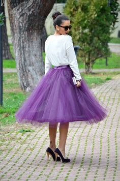 Pale grey tulle tutu skirt for women with ivory or by LADYWOW, €59.00
