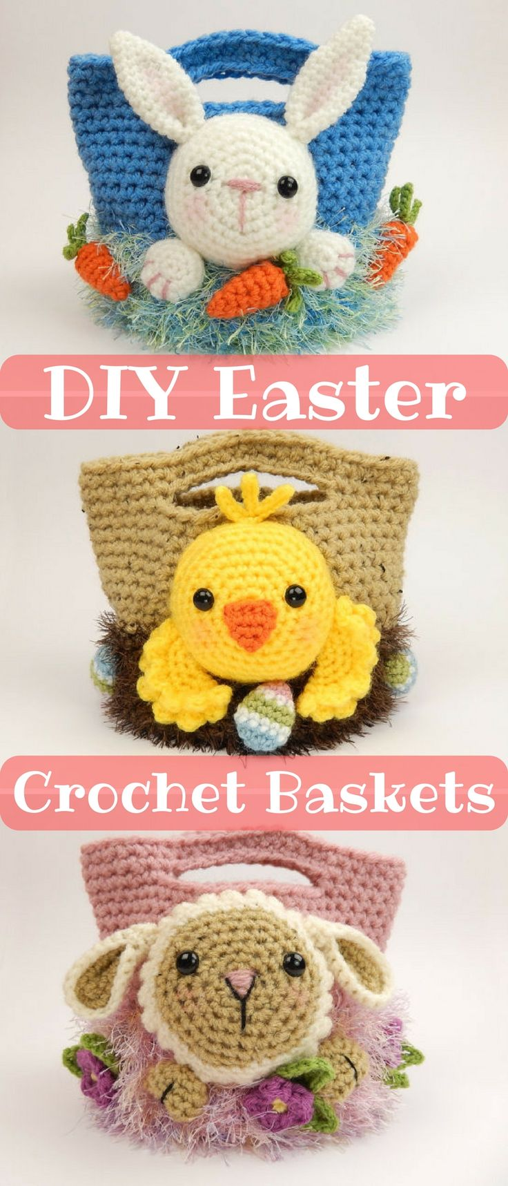 This great crochet pattern is for three different Easter Treat bags. Make a bunny, a chick, a lamb or go wild and make them all! Use them to hunt the easter egg hunt or fill them with chocolate. #easter #ad #crochetpattern