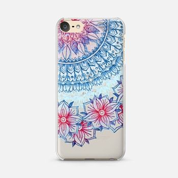 iPod Touch 6 Case Red & Blue Floral on Transparent
