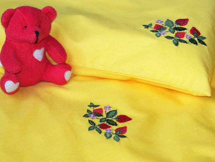 Baby Bedding Set 3pcs, Pure Cotton Bed Linen, Nursery Bedding Set, HANDMADE, Yellow, Strawberries Embroidery by NaturalHomeTreasures on Etsy