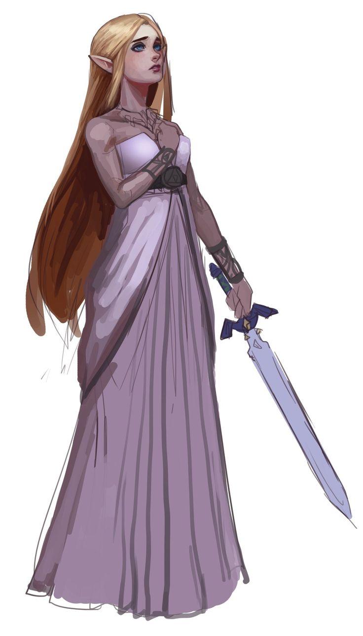 Zelda holding the Master Sword.