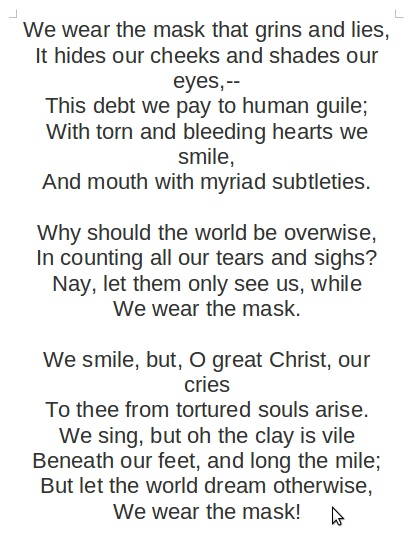 the desire for freedom in sympathy a poem by paul laurence dunbar Paul laurence dunbar was one the first  among the latter is one of his most popular poems, sympathy, in  e w, paul lawrence dunbar: a.