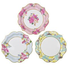 Tea Party birthday plates with floral and bird design featuring colors such as pink, blue and yellow. Available at the Via Blossom Shop!