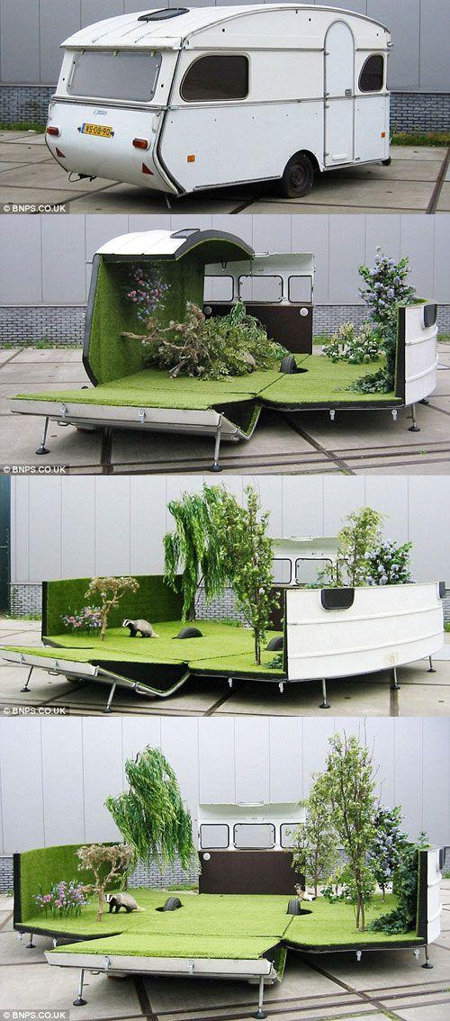 portable park caravan that turns into a mobile garden designed by Kevin Van Braak