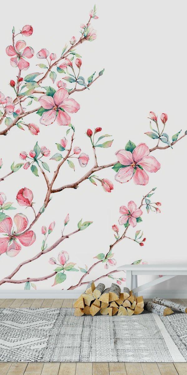 Apple Blossom 2 Wall Mural From Happywall Feminine Elegant Wallmural Illustration Mural Bloom Tree Wall Painting Tree Wall Murals Wall Painting Flowers