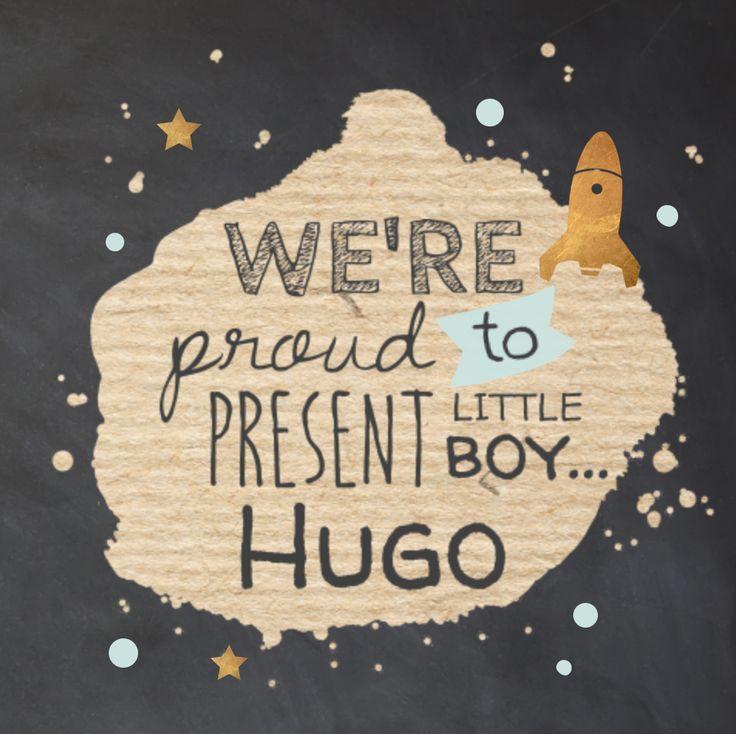 LOVZ | Hip geboortekaartje jongen met krijtbord look, kraft wereld, sterren en raket met koper kleur.