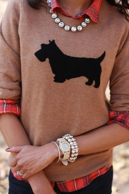 J. Crew Scottie Dog sweater over a pretty orange plaid.  Dressed up with sparkly jewelry - this outfit is so preppy!