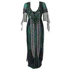1912 Metzer Couture Edwardian Metallic Embroidered Beaded Peacock Tea Gown