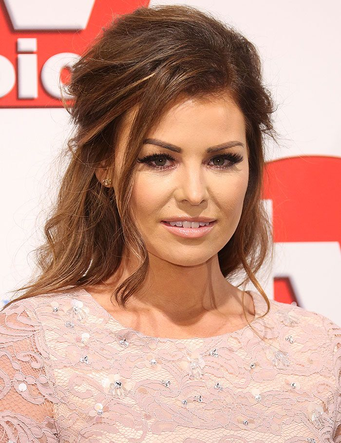 "Jessica Wright in Demure Two-Piece Sheer Lace Ensemble and ""Amara"" Heels from Her Eponymous Collection at 2015 TV Choice Awards"