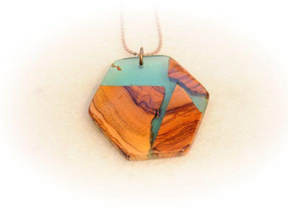 Polygon Handmade Pendant Greek Island Light Blue by MavouShop